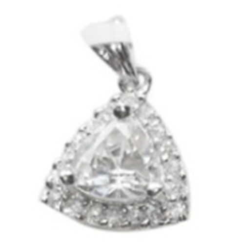 ELANZA AAA Simulated Diamond (Trl) Pendant in Rhodium Plated Sterling Silver