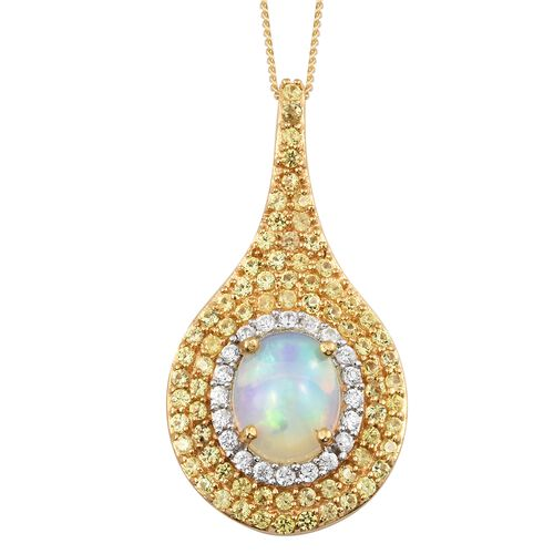 Designer Inspired-Rare Size Ethiopian Welo Opal (Ovl 10x8 mm), Yellow Sapphire and Natural Cambodian Zircon Drop Pendant with Chain in 14K Gold Overlay Sterling Silver 3.500 Ct.