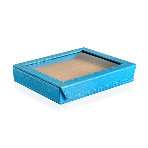 Hand Crafted - Eco Leatherette Turquoise Colour 100 Slot Ring Box with Magnetic Closure (Size 24x22x4 Cm)