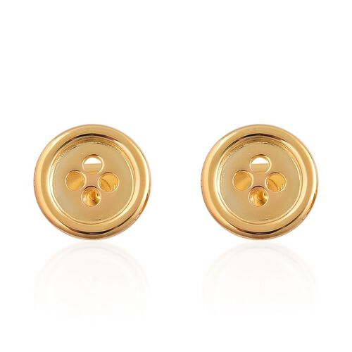 LucyQ Button Stud Earrings (with Push Back) in Yellow Gold Overlay Sterling Silver 4.70 Gms.