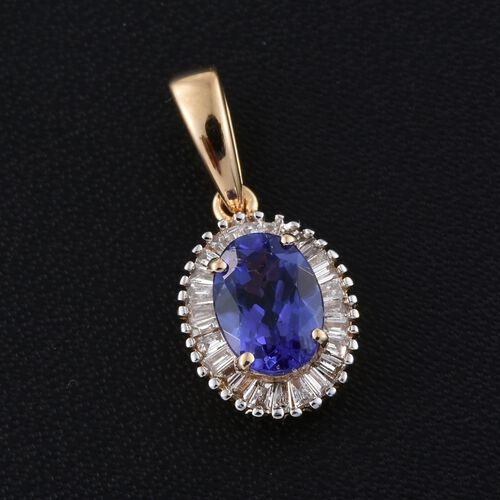 ILIANA 18K Yellow Gold AAA Tanzanite (Ovl), Diamond (SI G-H) Halo Pendant 1.000 Ct.
