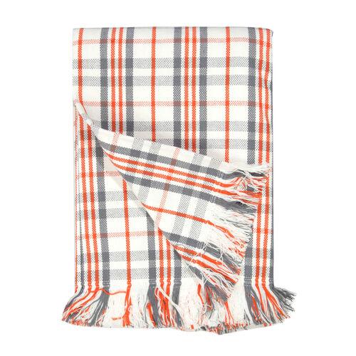 100% Cotton Bedspread/Sofa Protector White, Grey, Orange Colour Tartan Check (Size 240x150 Cm)