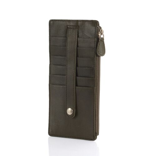 Genuine Leather RFID Blocker Olive Green Colour Ladies Wallet (Size 17x8 Cm)