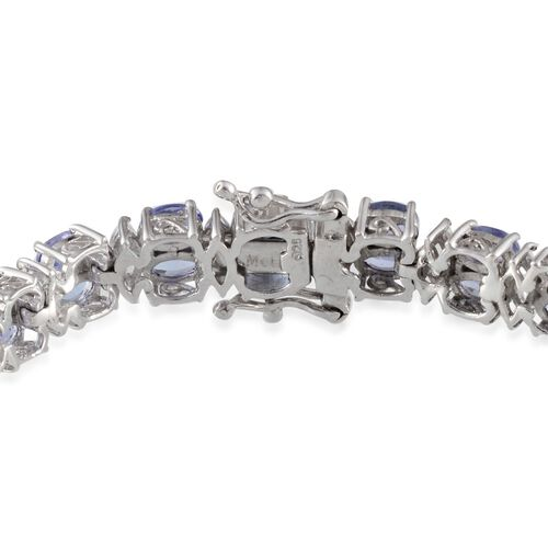 AA Tanzanite (Ovl), White Topaz Bracelet in Platinum Overlay Sterling Silver (Size 7.5) 17.500 Ct.