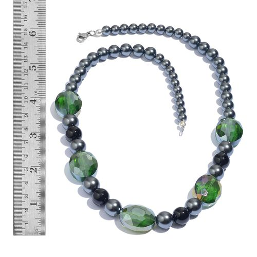 Peacock Pearl Glass (Rnd), Green Glass and Black Agate Necklace (Size 20) and Bracelet (Size 8) in Silver Tone with Stainless Steel