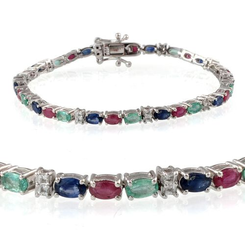 Kanchanaburi Blue Sapphire (Ovl), African Ruby, Kagem Zambian Emerald and White Topaz Bracelet in Platinum Overlay Sterling Silver (Size 7.5) 8.000 Ct.