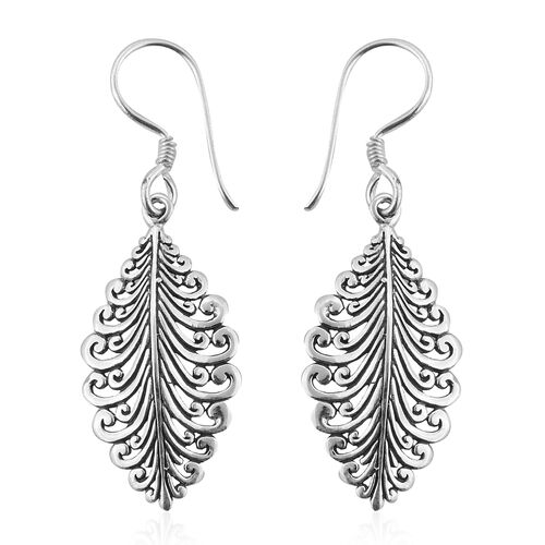 Royal Bali Collection Sterling Silver Leaf Hook Earrings, Silver wt 3.76 Gms.