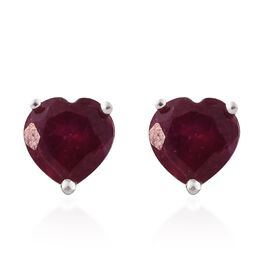 African Ruby (Hrt) Stud Earrings (with Push Back) in Sterling Silver 1.000 Ct.