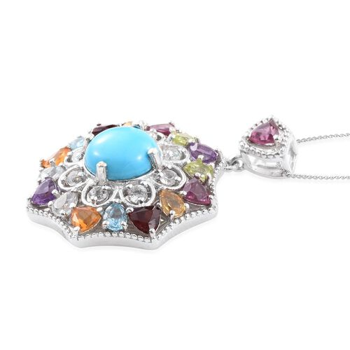 AAA Arizona Sleeping Beauty Turquoise (Rnd 3.15 Ct), Rhodolite Garnet, Mozambique Garnet, Amethyst, Peridot and Multi Gemstone Pendant With Chain in Platinum Overlay Sterling Silver 7.500 Ct.
