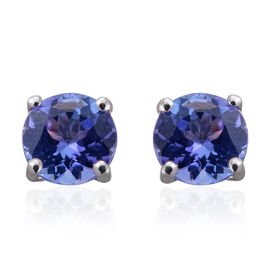 9K White Gold AA Tanzanite Stud Earrings (with Push Back) 1.000 Ct.