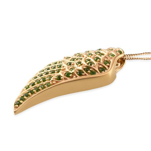 Russian Diopside (Rnd) Angel Wing Pendant with Chain (Size 18) in 14K Gold Overlay Sterling Silver