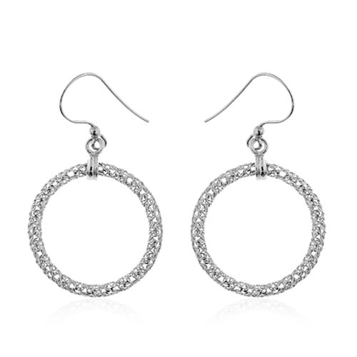 Italian Made-Rhodium Plated Sterling Silver Round Hook Earrings, Silver wt 3.00 Gms.