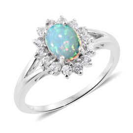 Ethiopian Welo Opal (Ovl), Natural Cambodian Zircon Ring in Platinum Overlay Sterling Silver 1.500 Ct.