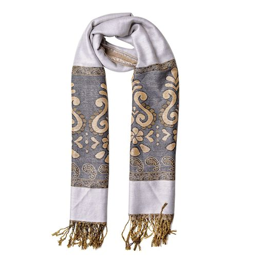 Silver Grey, Black and Multi Colour Knitted Floral and Paisley Pattern Scarf with Tassels (Size 170X70 Cm)