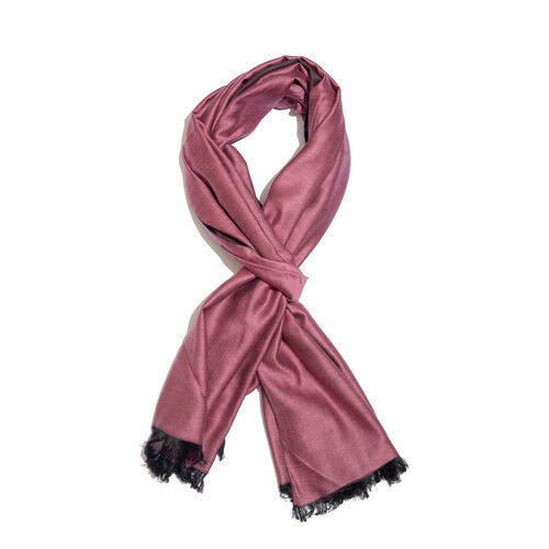 Purple Colour Reversible Scarf with Fringes (Size 200x70 Cm)