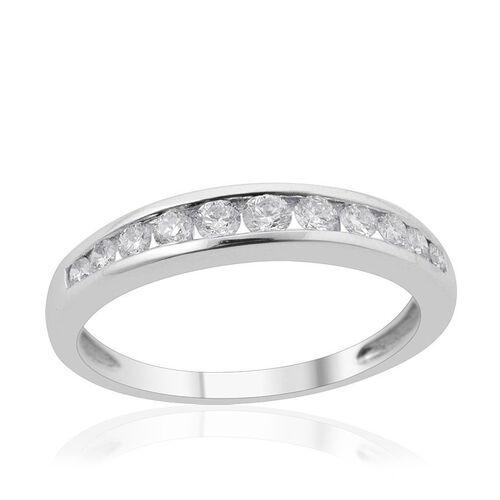 RHAPSODY 950 Platinum IGI Certified Diamond (Rnd) (VS/E-F) Half Eternity Ring 0.500 Ct.