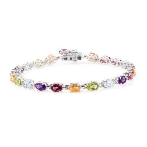 Sky Blue Topaz (Ovl), Rhodolite Garnet, Amethyst, Citrine and Hebei Peridot Bracelet (Size 7.5) in Platinum Overlay Sterling Silver 10.250 Ct.