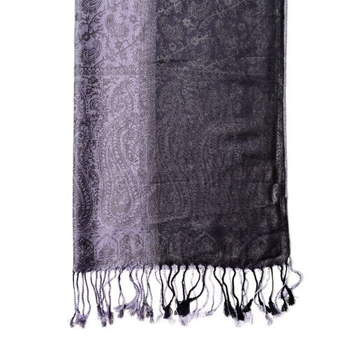Grey Colour Paisley Pattern Scarf with Tassels (Size 180X65 Cm)