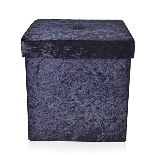 Black Colour Stylish Crushed Velvet Foldable Seater Storage Ottoman (Size 38x38x38 cm)