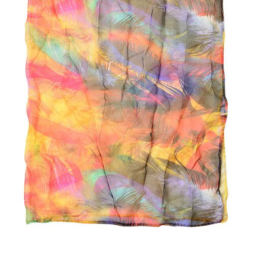 Light Pink, Yellow, Red and Multi Colour Plume Pattern Scarf (Size 170 x70 Cm)