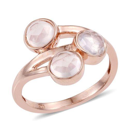 Rose Quartz (Rnd) Trilogy Ring in Rose Gold Overlay Sterling Silver 2.250 Ct.