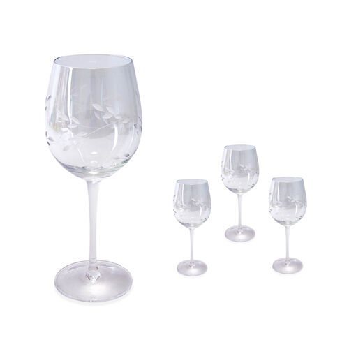 Set of 4 - Wine Glasses with Carved Leaf Design in Light Green Colour with Mother of Pearl Effect