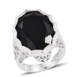 Australian Midnight Tourmaline (Ovl) Ring in Platinum Overlay Sterling Silver 19.250 Ct.