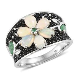 Ethiopian Welo Opal (Pear), Boi Ploi Black Spinel and Kagem Zambian Emerald Floral Ring in Platinum Overlay Sterling Silver 2.750 Ct. Silver wt 7.25 Gms.