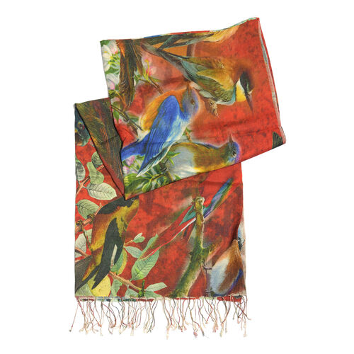 100% Katan Silk Red, Green and Multi Colour Digital Print Bird on Branch Pattern Scarf with Tassels (Size 200x70 Cm)