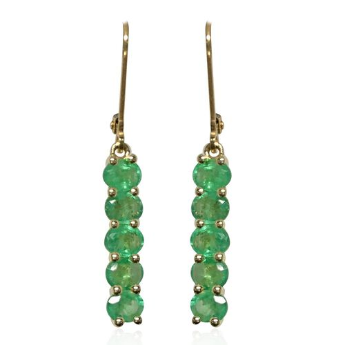One Time Deal- 9K Yellow Gold AAA Kagem Zambian Emerald (Ovl) Earrings 2.500 Ct.