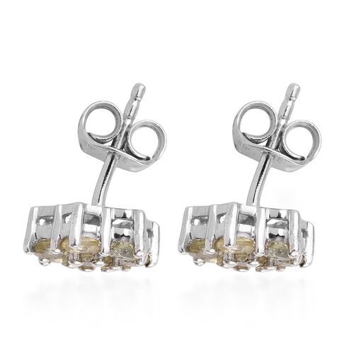 Natural Canary Apatite (Rnd) Floral Stud Earrings (with Push Back) in Platinum Overlay Sterling Silver 1.000 Ct.