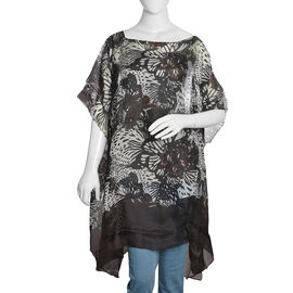 100% Mulberry Silk Black, White and Chocolate Colour Handscreen Butterfly Printed Kaftan (Free Size)