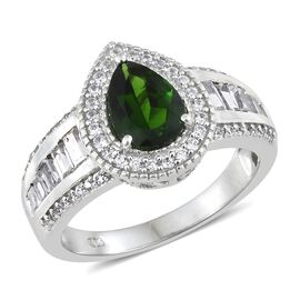 Limited Edition- Designer Inspired Russian Diopside (Pear 10x7mm, 1.75 Ct), Natural Cambodian Zircon Ring in Platinum Overlay Sterling Silver 3.750 Ct. Silver wt 5.83 Gms.
