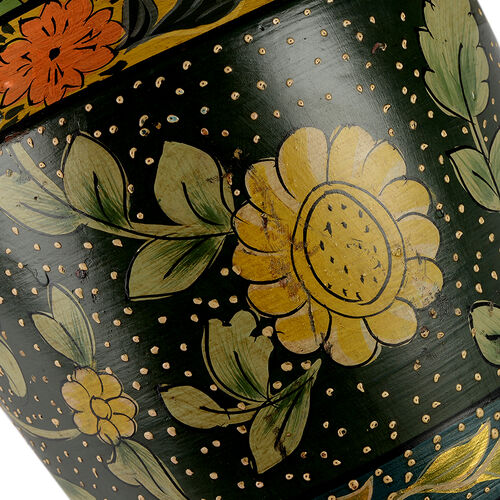 Limited Edition - Designer Inspired Hand Painted Floral Terracotta Vase Green, Black and Multi Colour