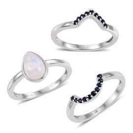 Kimberley Rainbow Moonstone (Pear 2.50 Ct), Kanchanaburi Blue Sapphire 3 Ring Set in Platinum Overlay Sterling Silver 2.750 Ct.