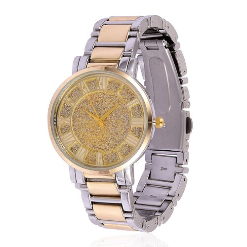 STRADA Japanese Movement Stardust Dial Water Resistant Watch in Silver and Gold Tone with Stainless Steel Back