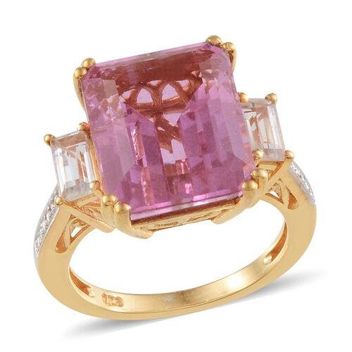 Kunzite Colour Quartz (Oct 12.00 Ct), White Topaz Ring in 14K Gold Overlay Sterling Silver 12.750 Ct.
