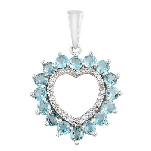 Paraiba Apatite (Rnd), Natural Cambodian Zircon Heart Pendant in Platinum Overlay Sterling Silver 2.250 Ct.