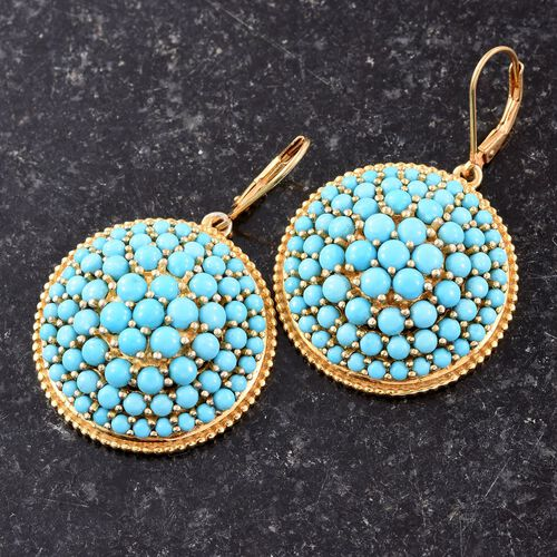 AA Sleeping Beauty Turquoise 15.25 Carat Silver Lever Back Cluster Earrings in Gold Overlay