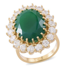 Verde Onyx (Ovl 14.00 Ct), Natural White Cambodian Zircon Ring in 14K Gold Overlay Sterling Silver 18.500 Ct.