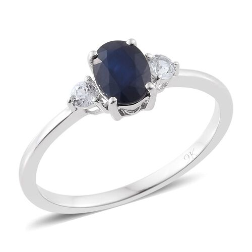 9K White Gold  1.25 Ct AA Kanchanaburi Blue Sapphire Ring with Natural Cambodian Zircon