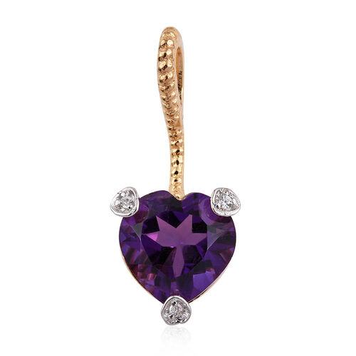 Amethyst (Hrt), Natural Cambodian Zircon Heart Pendant with Chain in Yellow Gold Overlay Sterling Silver 1.431 Ct.
