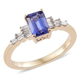 Iliana Tanzanite (1.00 Ct) and Diamond 18K Y Gold Ring  1.150  Ct.