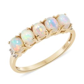9K Yellow Gold AAA Ethiopian Welo Opal (Ovl), Diamond Ring 1.300 Ct.