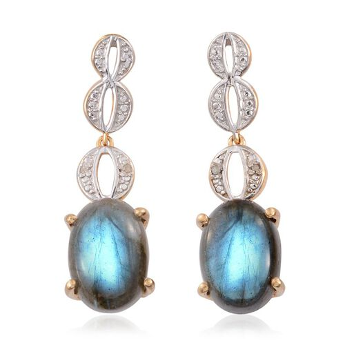 Labradorite (Ovl), Diamond Earrings (with Push Back) in 14K Gold Overlay Sterling Silver 13.270 Ct.