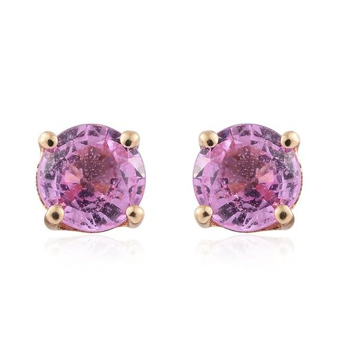 ILIANA 18K Yellow Gold 1.05 Carat AAA Pink Sapphire Solitaire Stud Earrings (with Screw Back)