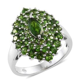 Russian Diopside (Mrq) Ring in Platinum Overlay Sterling Silver 2.750 Ct.