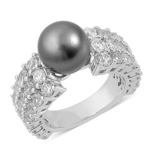 Tahitian Pearl and Natural White Cambodian Zircon Ring in Platinum Overlay Sterling Silver, Silver wt 6.77 Gms.