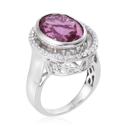 Kunzite Colour Quartz (Ovl 9.50 Ct), Natural Cambodian Zircon Ring in Platinum Overlay Sterling Silver 10.250 Ct.