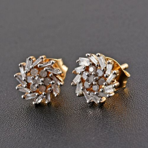 Diamond (Rnd) Floral Stud Earrings (with Push Back) in 14K Gold Overlay Sterling Silver 0.330 Ct.